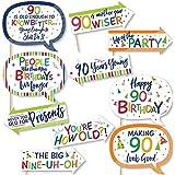 Big Dot of Happiness 面白い 90歳の誕生日 陽気な誕生日 カラフルな9歳の誕生日パーティー 写真ブース小道具キット 10ピース
