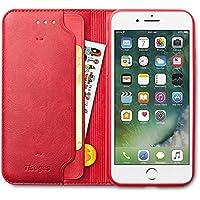 iPhone8 ケース iPhone7 ケース 手帳型 Tisuges 高級PUレザー カード収納 スタンド機能 財布型 TPU 耐衝撃 人気 おしゃれ かわいい 薄型 カバー(アイフォン7ケース / アイフォン8ケース レッド)