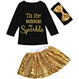 Tis The Season Holiday Baby Toddler Girl 3 Piece Set Sparkly Gold Skirt Black Top with Matching Glittery Headband