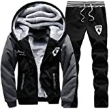 Luckyoung Men Winter Full Zip Fleece Hoodie Jacket & Pants Sweatsuit Casual Tracksuit