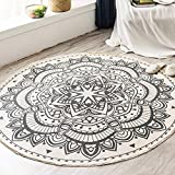 LEEVAN Round Area Rug,Hand Woven Cream Chic Bohemian Mandala Print Tassels Door Mat,Indoor Floor Area Mat Compatible Bedroom,