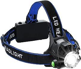 ヘッドライト 充電式 高輝度1000ルーメン CREE XML-T6 センサー点灯 IPX4防水仕様 ランキング・夜釣り・登山