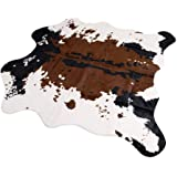 Brown Cow Print Rug 55.1Wx62.9L Faux Cowhide Rugs Cute Animal Printed Carpet For Home