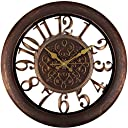 Adalene Wall Clocks Large Modern - Battery Operated Non Ticking 33cm Elegant Wall Clock Silent, Quiet Analogue Quartz Home Decor Vintage Decorative Wall Clock For Living Room, Kitchen, Rustic Brown
