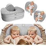 TwinGo Nurse & Lounge Pillow (Grey) - Breastfeeding Pillow for Twins or Two Lounge Pillows || 8 uses || XS to Plus Size Woman