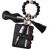Women Wristlet Bracelet Keychain Wallet,Silicone Beaded Bangle Keyring Tassel