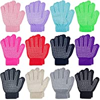 MENOLY 12 Pairs Winter kids Gloves Kids Anti-skid Magic Gloves Kids Knit Gloves Warm Stretchy Knitted Magic Gloves for Boys Girls