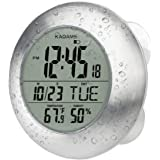KADAMS Digital Bathroom Shower Kitchen Wall Clock, Waterproof for Water Spray, with Seconds Counter, Temperature & Humidity,