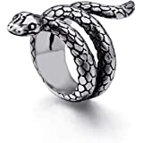 Men's Fashion Jewelry Men and Women Stainless Steel Snake Ring in Yellow or White Color, Snake Band Ring, Man Ring Ring