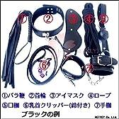 No.07 SMグッズ 7点セット バラ鞭 首輪 アイマスク ロープ 口枷 乳首クリッパー 手枷 ((B)レッド)