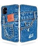 「UK Trident」本格デニム iPhone 11 手帳型アイフォンケース(アイフォン11ケース)