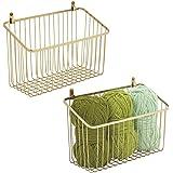 mDesign Portable Metal Farmhouse Wall Decor Angled Storage Organizer Basket Bin for Hanging in Entryway, Mudroom, Bedroom, Ba