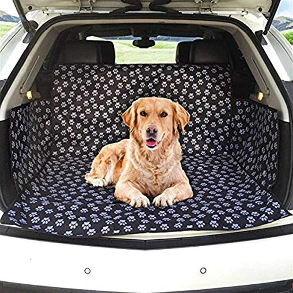 ハイブリッド統計的海峡ひもJSFQ 犬用カーブーツカバーカーブーツライナープロテクター防水ブーツプロテクターマットサイドプロテクション付きトランクドッグカバーほとんどの車、SUV、バン、トラックに適合(かわいい犬の爪)