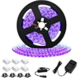 Sunmerit UV Black Light LED Strip, 16.4FT 300 LEDs, Black Lights for Birthday Halloween Fluorescent Stage, Ultraviolet Fixtur