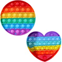 HUAZONTOM スクイーズ玩具 プッシュポップバブル (アマゾン配送) 2個セット ストレス解消 丸形+ハート形