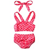 Unitylo Infant Kids Baby Girls Swimwear Straps Dots Split Swimsuit Bikini Tops+Shorts+ Headbands 3 Piece Set