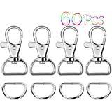 Paxcoo 60Pcs Key Chain Hooks with D Rings for Lanyard and Sewing Projects