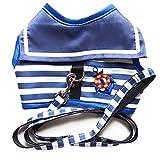 さわやか マリン ボーター柄 刺繍 付 ワンピース風 ハーネス 小型 の 犬 猫 カワイイ リード セット(M)
