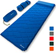 MalloMe Sleeping Pad Camping Air Mattress – Self Inflating Mat Bed for Backpacking Adults – Inflatable Ultralight Insulated S