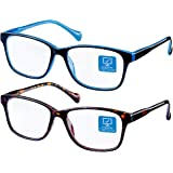 KENZHOU Reading Glasses 2 Pack for Women/Men Ladies' Blue Light Computer Reader Glasses Comfort Clear Vision Round Reading Gl