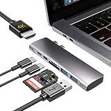 Macbook ハブ Macbook Pro ハブ Macbook Air ハブ USB Type C 変換 4K HDMI Thunderbolt 3 100W PD 充電 マイクロSD/SDカードリーダー USB3.0*2 ドッキングステーショ