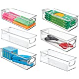 mDesign Plastic Stackable Home Office Storage Organizer Container with Handles for Cabinets, Drawers, Desks, Workspace - BPA