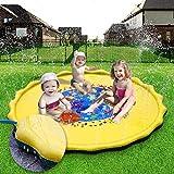 幼児用屋外プール O66.3インチスプリンクラースプラッシュゲームパッドパーティー玩具スプリンクラーパッド適し幼児男の子と女の子子供インフレータブル夏アウトドア(イエロー)