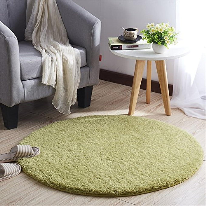 階下またはどちらか寄り添うCLAXAM 一瞬だけでとろけそう~!ラブリーシャギーラグ 丸い絨毯 極上の繊細さと柔らかさ、サラサラな質感で、あなたの欠かせない家飾りの味方 (80cm, グラスグリーン)