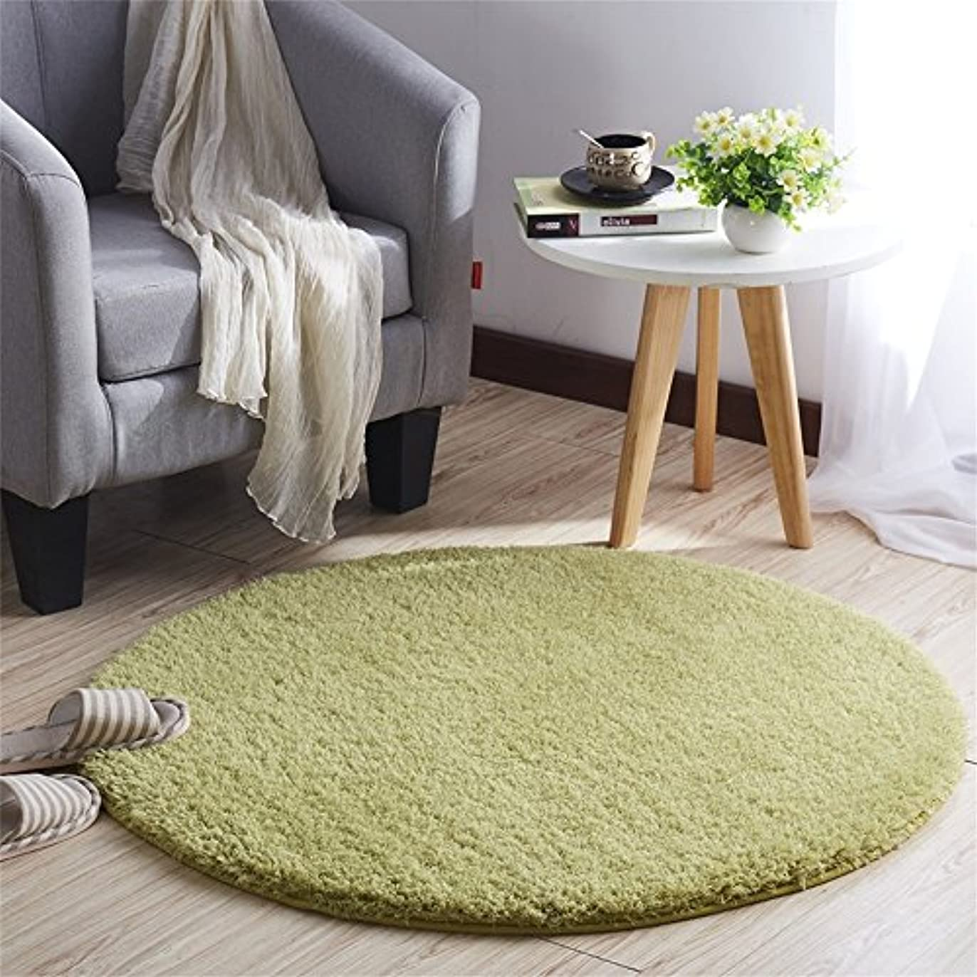 CLAXAM 一瞬だけでとろけそう~!ラブリーシャギーラグ 丸い絨毯 極上の繊細さと柔らかさ、サラサラな質感で、あなたの欠かせない家飾りの味方 (80cm, グラスグリーン)
