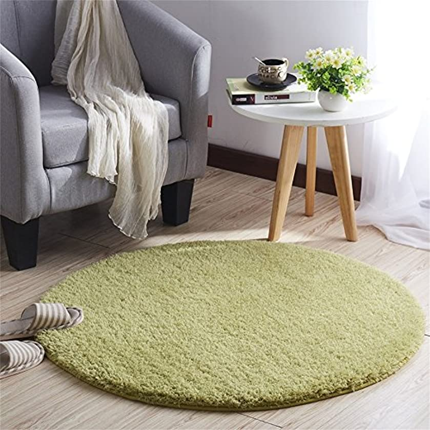 感情未知のメロンCLAXAM 一瞬だけでとろけそう~!ラブリーシャギーラグ 丸い絨毯 極上の繊細さと柔らかさ、サラサラな質感で、あなたの欠かせない家飾りの味方 (80cm, グラスグリーン)