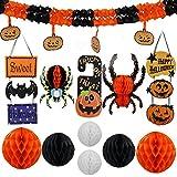 funyafunya ハロウィン装飾 豪華セット ハニカムボール 飾り物(かぼちゃ 蝙蝠 蜘蛛) 吊り下げる パーティー小物