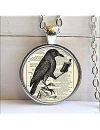 レイヴンペンダントネックレス、カラス、カラスのネックレス、鳥の宝石
