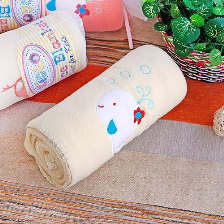 「白クジラ-イエロー」刺繍アップリケポーラーフリースベビースローブランケット(78cm*100.1cm)