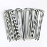 Petgrow 6 Inch Garden Stakes Galvanized Landscape Staples U-Type Turf Staples for Artificial Grass, Rust Proof Sod Pins Stake