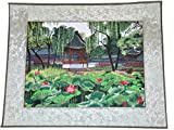 Vince Shop 刺繍絵 漢風 夏の蘇州庭園 蓮 家の装飾 部屋、客間を飾る