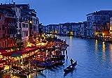 ヴェネツィア、イタリアナイト 風景の写真 キャンバス印刷アートポスター(60cmx90cm)