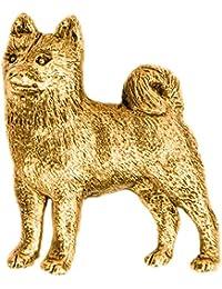 柴犬 (シバ イヌ) イギリス製 22ct ゴールドプレート アート ドッグ ブローチ コレクション