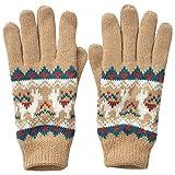joujoulier 手袋 レディース ニット 女の子 裏地フリース グローブ ジュニア デザインニット ニット 防寒