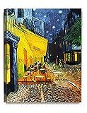 DecoArts アートパネル 印象派油絵 壁掛け絵画 壁飾り フィンセント・ファン・ゴッホの絵画作品 (40cm x 50cm, Cafe Terrace At Night 「夜のカフェテラス」)