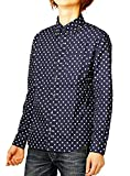 日本製 国産 ブロード ドット柄 長袖 ボタンダウンシャツ メンズ M ネイビー小柄#2