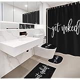 COLORPAPA Black Get Naked Funny Words Shower Curtain Set Bath Curtain Non-Slip Bath Mat Rug U Shape Floor Mat Toilet Lid Cove