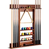 XCSOURCE Billiard Cue Rack, Wall Mounted Wooden Poor Cue Rack, 8 Holes for Billiard Cues, 5-Layer Platform Can Hold Balls, Ch