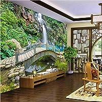 Hhkkck 壁紙壁画壁スティッキーマウンテンスプリングクリークブリッジ滝風景背景壁Papel De Parede-140X200Cm