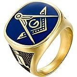 EZSONA Men's Stainless Steel Gold Plated Freemason Masonic Rings