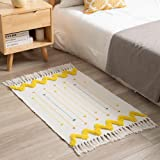 Boho Small Rugs for Bedroom White Yellow Bathroom Rugs Bohemian Bath Mat Woven Tassel Throw Rugs 2'x3', Washable Modern Moroc
