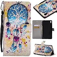 WindTeco Sony Xperia XA Ultra ケース 財布型 手帳型 スタンド機能付き マグネット開閉 女性人気 おしゃれ 可愛い 羽柄 良質PUレザーケース スマホケース カード収納 おしゃれ デザイン 軽量 薄型 横置き 耐衝撃 傷つけ防止 装置やすい 脱着やすい