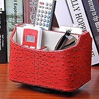 WTL かご?バスケット 革の収納ボックスの家のデスクトップの破片の収納ボックス (色 : 赤, サイズ さいず : 18.5*14.5*16.5cm)