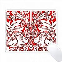 赤い背景の上に大きな細かい白ウサギのチンツ PC Mouse Pad パソコン マウスパッド