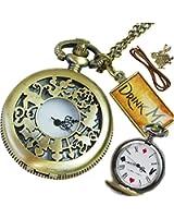 [リトルマジック]Little magic 選べる箱付き、箱無し*アンティーク調 アリス 懐中時計ペンダント