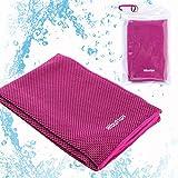 Ribution 冷感タオル 瞬冷スポーツアイスタオル クールタオル 汗や水分吸収 収納ポーチ付き ピンク